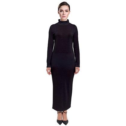 WOMEN'S LONG SLEEVE TURTLENECK MAXI DRESS // Black