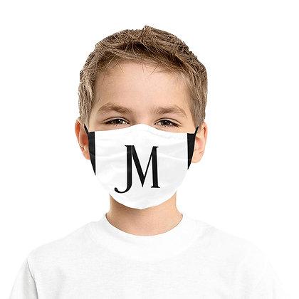 JM LOGO KIDS PLEATED DUST COVER FACE MASK // White & Black