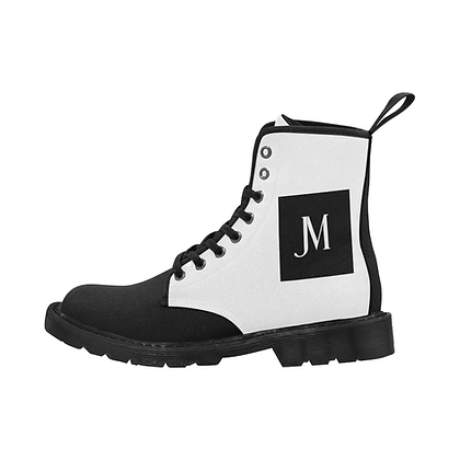 MEN'S JM COMPANY LACE-UP CANVAS BOOTS // White & Black