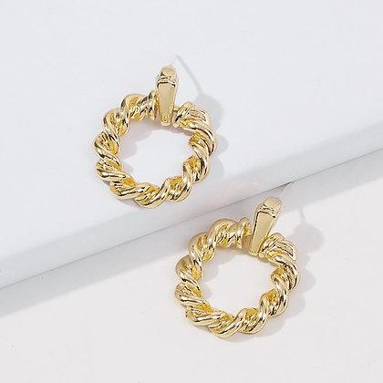 RETRO SPIRAL CIRCLE METAL EARRINGS // GOLD