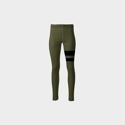TWO-STRIPED PONTE JERSEY HIGH-WAIST LEGGINGS // Olive Green & Black Stripes