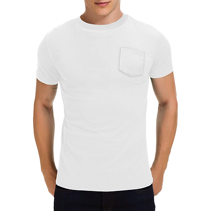 MEN'S SHORT SLEEVE ROUND NECK POCKET T-SHIRT // White