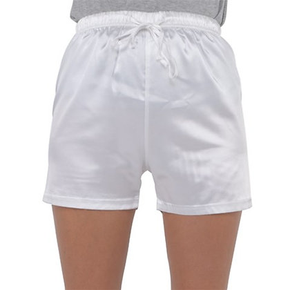 WOMEN'S SATIN PAJAMA SHORTS // White