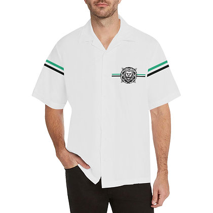 MEN'S ROYAL COAT OF ARMS V-NECK BUTTON-UP SHIRT // White, Black, & Jade Green