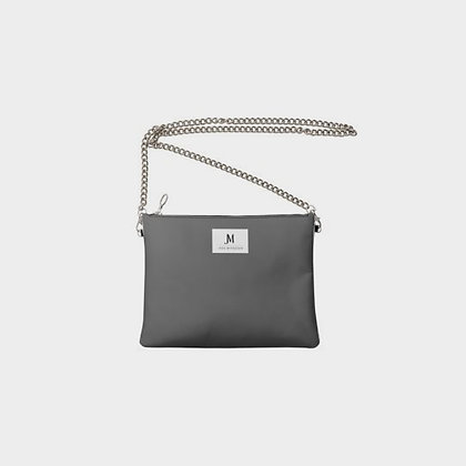 LEATHER CHAIN CROSSBODY BAG // Grey & Cranberry with JM Logo