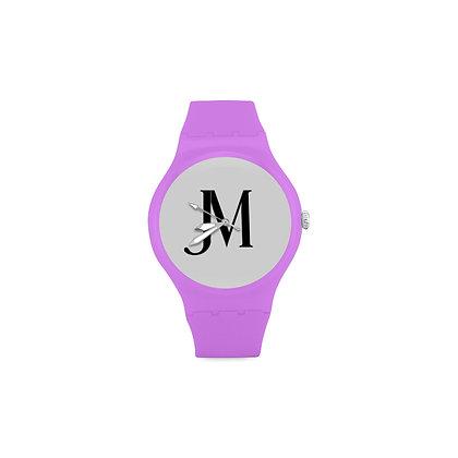 ADULT JM LOGO ROUND RUBBER SPORT WATCH // Purple, White, & Black