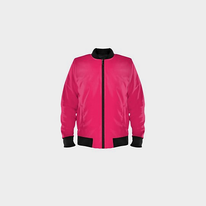 LADIES BOMBER JACKET // Hot Pink with Black Trim