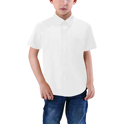 BOYS SHORT SLEEVE BUTTON-UP SHIRT // White