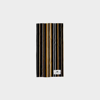 NECK TUBE SCARF // Black, Caramel, & White Stripes
