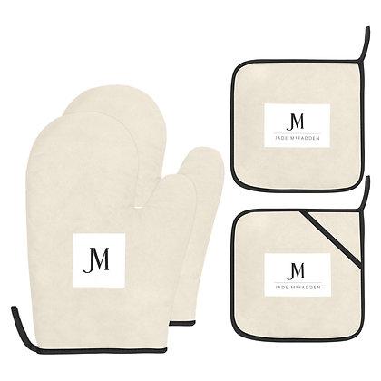 JM COMPANY LOGO OVEN MITT & POT HOLDER 4-PIECE SET // Bone, White, & Black