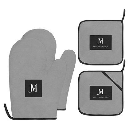 JM COMPANY LOGO OVEN MITT & POT HOLDER 4-PIECE SET // Grey, Black & White