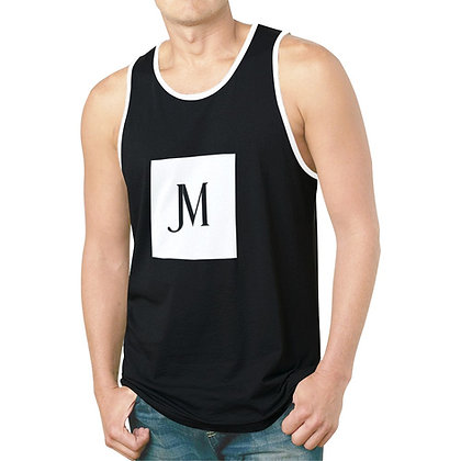 MEN'S JM LOGO HYBRID TANK TOP // Black & White