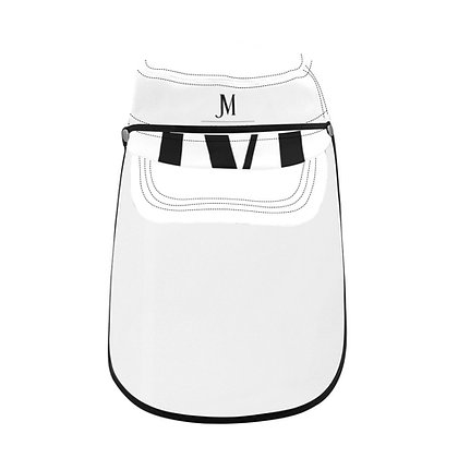 JM COMPANY LOGO MILITARY STYLE CAP WITH DETACHABLE FACE SHIELD // White & Black