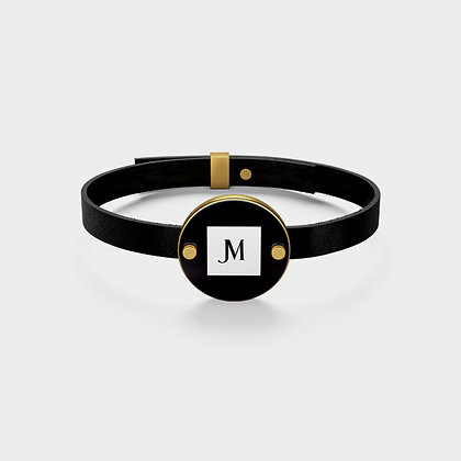 LEATHER JM LOGO BRACELET