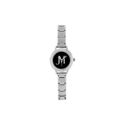 WOMEN'S JM LOGO ITALIAN CHARM WATCH // Grey, Stainless Steel, Black, & White