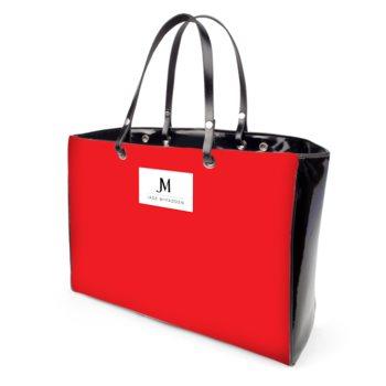 JM COMPANY VINYL HANDBAG // Red, Green, & Black with JM Logo
