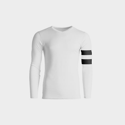 LONG SLEEVE SLIM-FIT ARM STRIPED T-SHIRT // White & Black