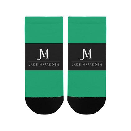 MEN'S JM COMPANY LOGO ANKLE SOCKS // Jade Green, Black, & White