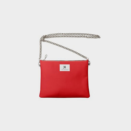 LEATHER CHAIN CROSSBODY BAG // Red & Yellow with JM Logo