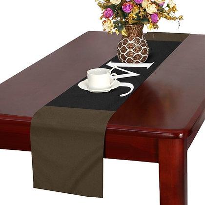 JM LOGO TABLE RUNNER // Carob Brown, Black, & White