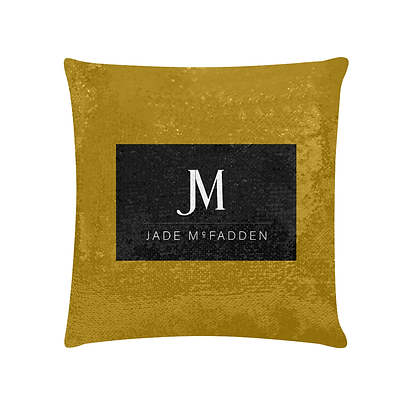 JM COMPANY LOGO SEQUIN PILLOWCASE // Gold, Black, & White