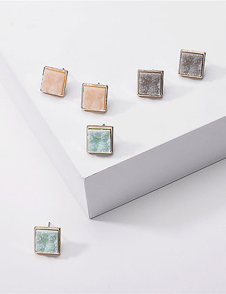 RESIN CRYSTAL CLUSTER STUD GEOMETRIC SQUARE ALLOY EARRINGS // Multiple Colors
