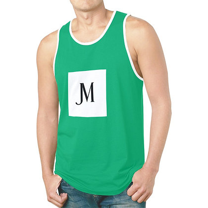 MEN'S JM LOGO HYBRID TANK TOP // Jade Green, White, & Black