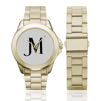 MEN'S JM LOGO GILT WATCH // Gold, White, & Black