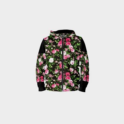LADIES FLORAL PRINT ZIPPER HOODIE // Black & Floral Print