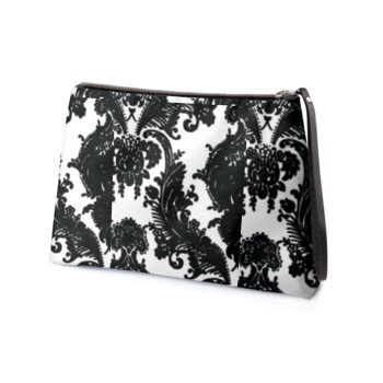 LEATHER FLORAL DAMASK PRINT CLUTCH // Black & White, with Royal Blue Interior
