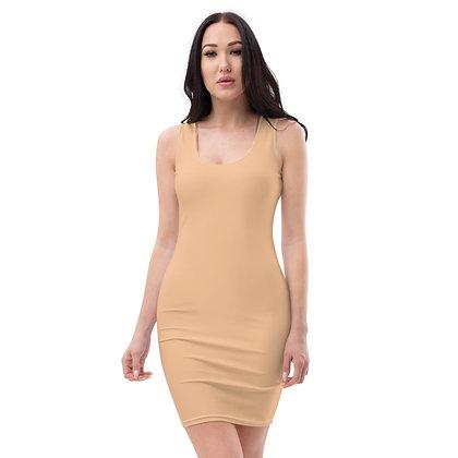 WOMEN'S SLEEVELESS SCOOP NECK BODYCON DRESS // Nude