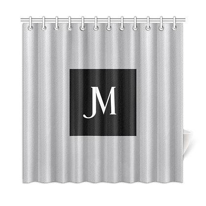 JM LOGO SHOWER CURTAIN // Silver Metallic, Black, & White