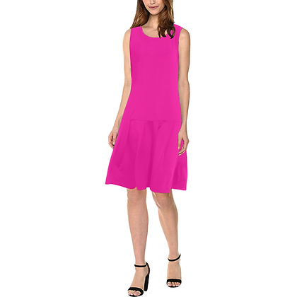WOMEN'S SLEEVELESS SPLICING SHIFT DRESS // Fuschia