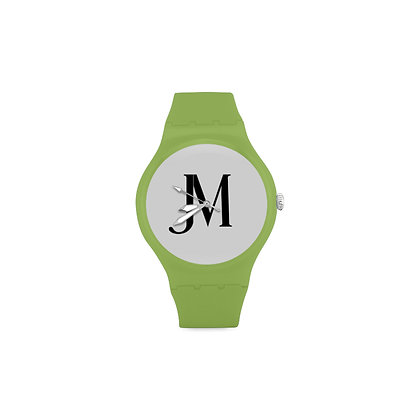 ADULT JM LOGO ROUND RUBBER SPORT WATCH // Mild Green, White, & Black
