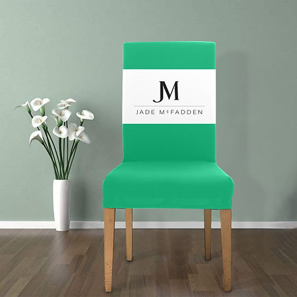 JM COMPANY LOGO REMOVABLE DINING CHAIR COVER // Jade Green, White, & Black