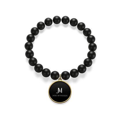 JM COMPANY 18K GOLD PLATED MATTE ONYX BRACELET // Black, White, & Gold