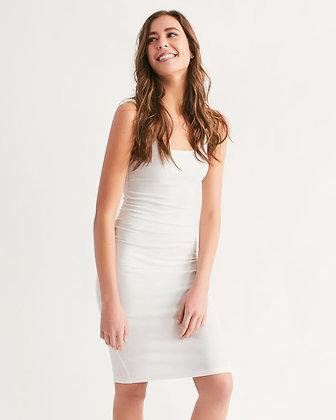 WOMEN'S RIB-KNIT MIDI BODYCON DRESS // White