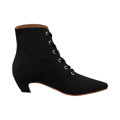 WOMEN'S LOW HEEL LACE-UP ANKLE BOOTS // Black