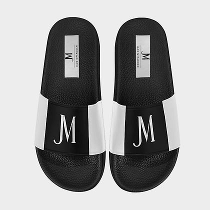 MEN'S JM LOGO SLIDE SANDALS (LARGE SIZES) // Black & White