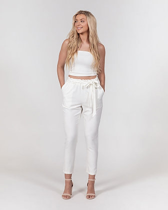 WOMEN'S BELTED PAPERBAG WAIST TAPERED PANTS // White