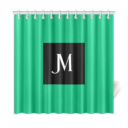 JM LOGO SHOWER CURTAIN // Jade Green, Black, & White