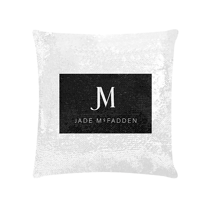 JM COMPANY LOGO SEQUIN PILLOWCASE // White & Black