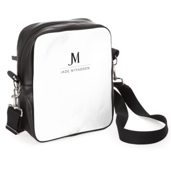 LEATHER JM COMPANY MESSENGER BAG // Black & White