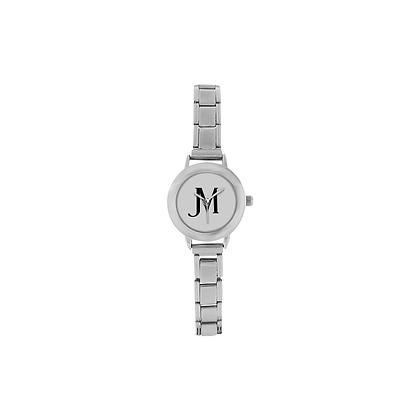 WOMEN'S JM LOGO ITALIAN CHARM WATCH // Grey, Stainless Steel, White, & Black