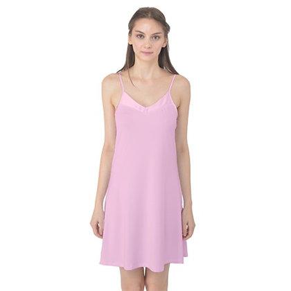 WOMEN'S SATIN CAMI SLIP DRESS NIGHTGOWN // Soft Pink