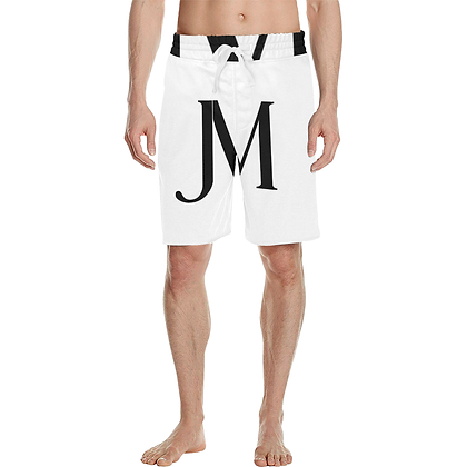 MEN'S CASUAL JM MULTIPURPOSE BEACH SHORTS // White & Black