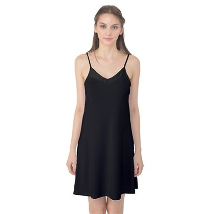 WOMEN'S SATIN CAMI SLIP DRESS NIGHTGOWN // Black