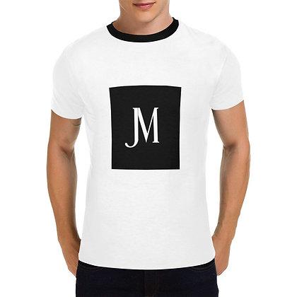 MEN'S JM LOGO PRINT  CASUAL T-SHIRT // White & Black
