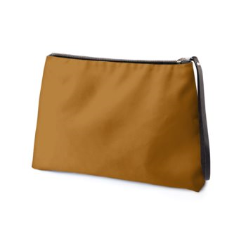 LEATHER TWO-TONE CLUTCH // Caramel & Burgundy with JM Logo, with Black Interior