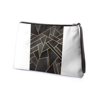 LEATHER ASYMMESTRICAL ABSTRACT CLUTCH // White, Black, Grey, & Gold